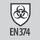 Protection class Protection against bacteriological risks according to EN 374